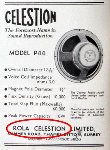 Celestion ad, circa 1951