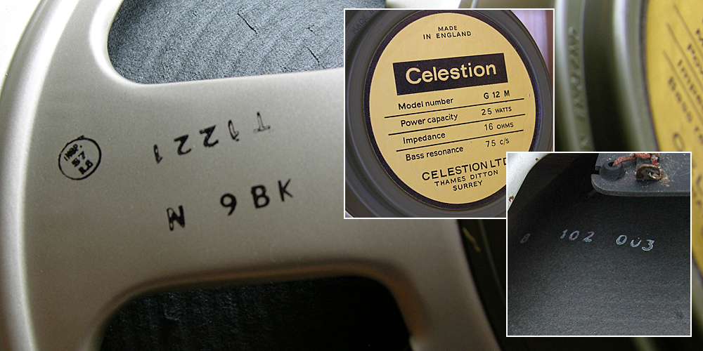 Pre-rola Greenback Reverse Celestion Date Codes