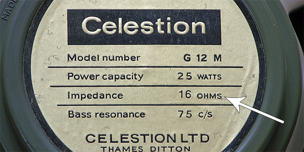 Genuine Vintage Celestion 16 Ohm label
