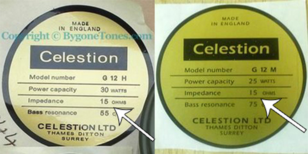 Celestion Heritage series label vs Reproduction label