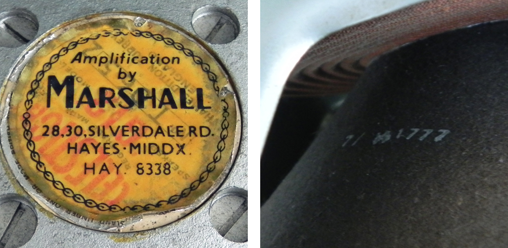 The rare silverdale road Marshall label & a Pulsonic H1777 stamped cone