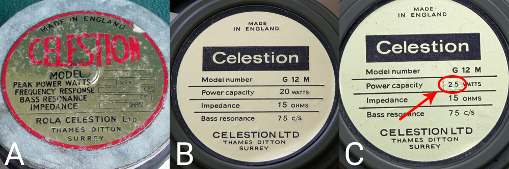 Celestion greenback G12M and G12H labels