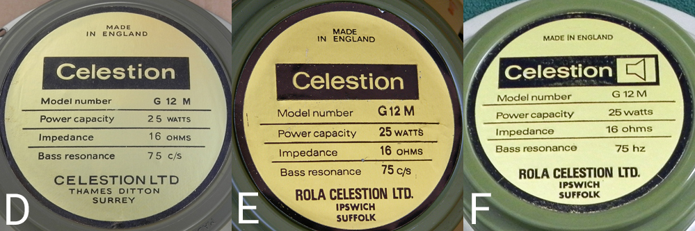 Celestion blackbacks G12M & G12H labels