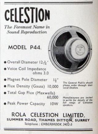 Rola Celestion P44 Speaker
