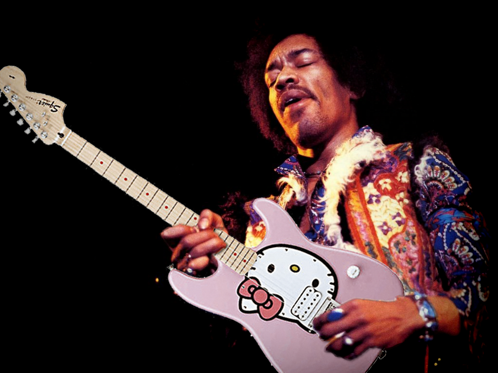 Hendrix with his famous Hello Kitty strat - now worth over £500,000 - comes with letter of authenticity