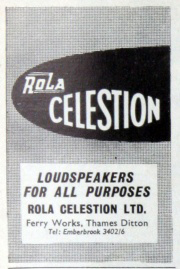 Rola Celestion advert