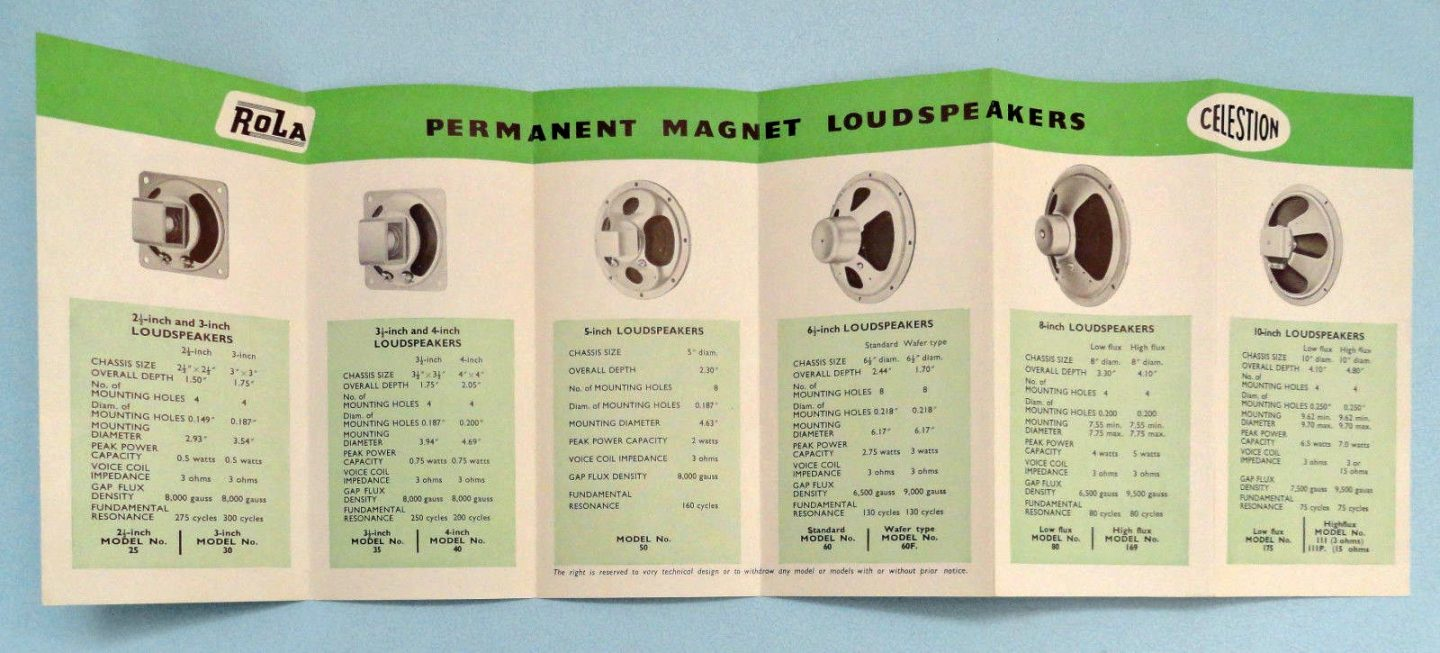 Celestion Speakers brochure 1956