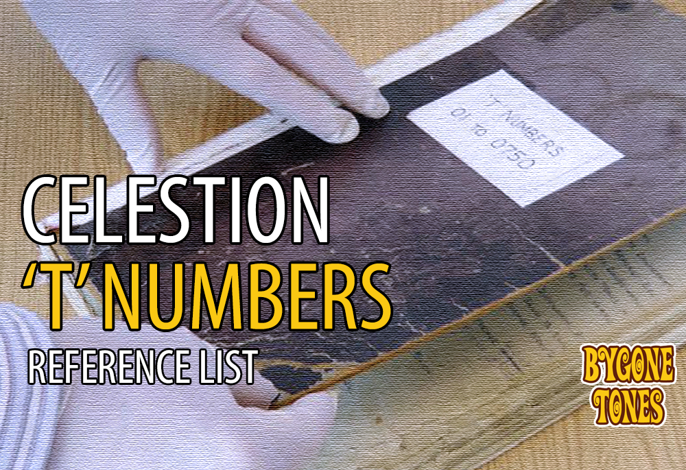 Celestion T-Numbers Reference List