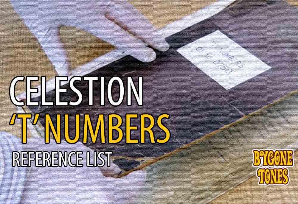 Celestion Speakers T-Numbers List